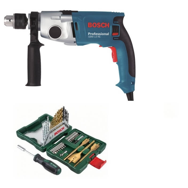 Kit Cyberday Taladro Reversible Bosch GBM 13 RE+Set Puntas y Brocas 40 Pzs Bosch 0601.1A5.0E0-000