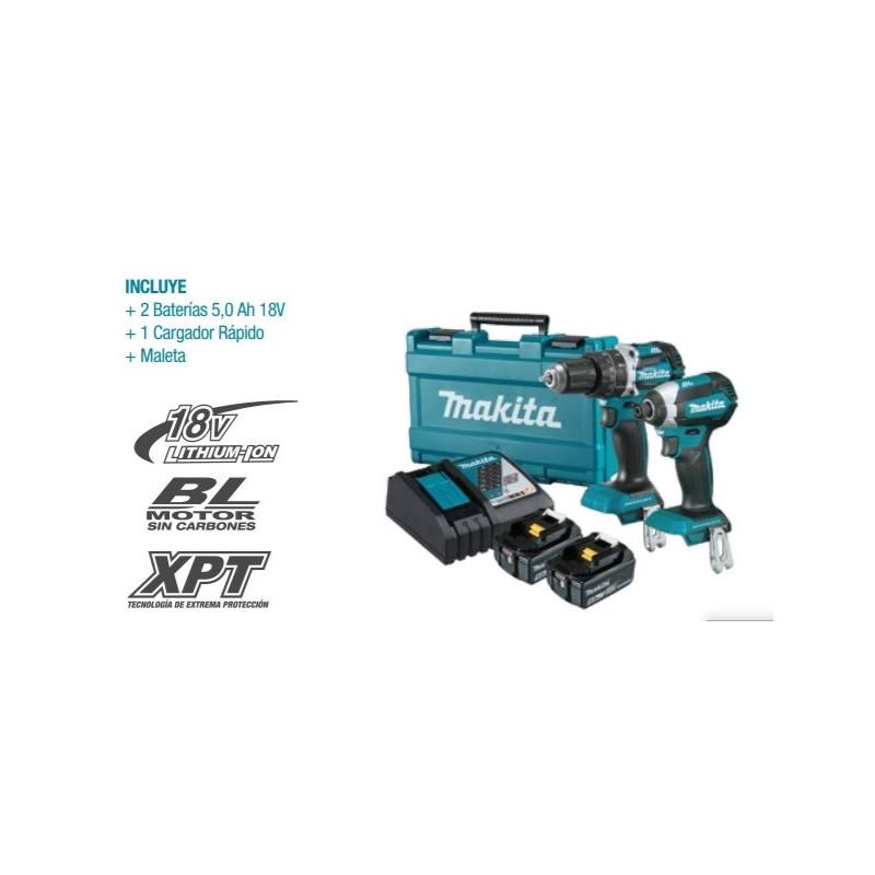 Kit Taladro Atornillador con Percusión 18V BL Motor DHP484 + Atornillador de Impacto 18V BL Motor DTD153 Makita DLX2180TX