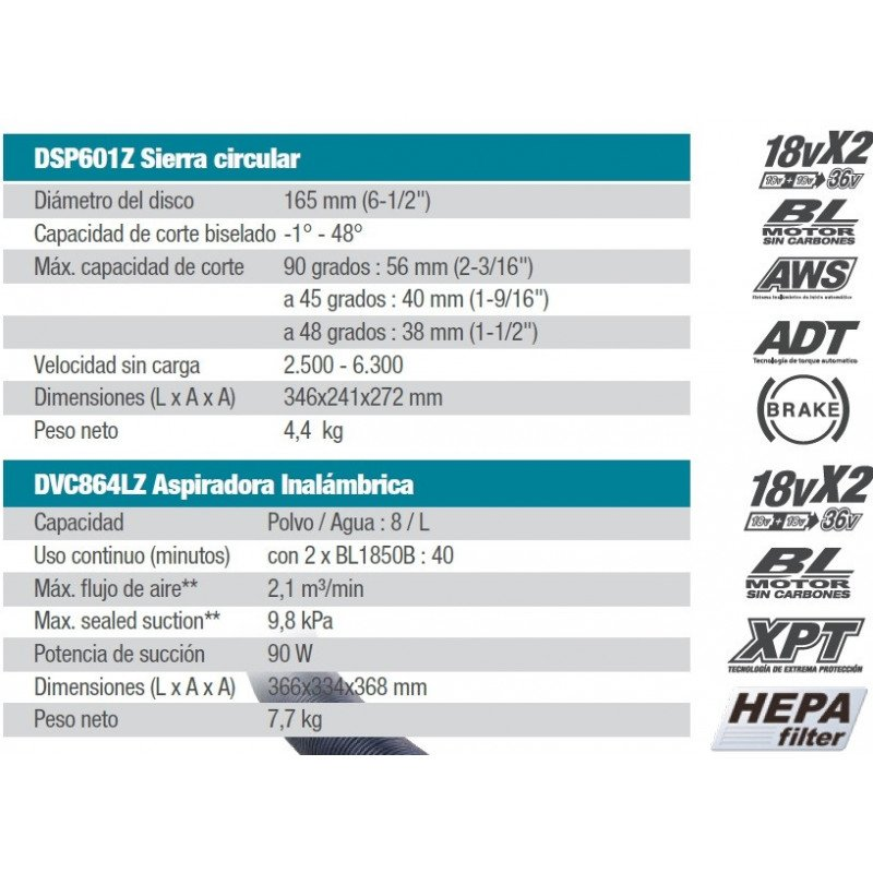 Kit Sierra Circular 36V DSP600Z + Aspiradora 36V DVC864LZ Makita DSP601Z-1