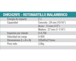 Kit Rotomartillo Inalámbrico 18V BL Motor DHR242 + Captador de polvo Makita DHR242RFE-1