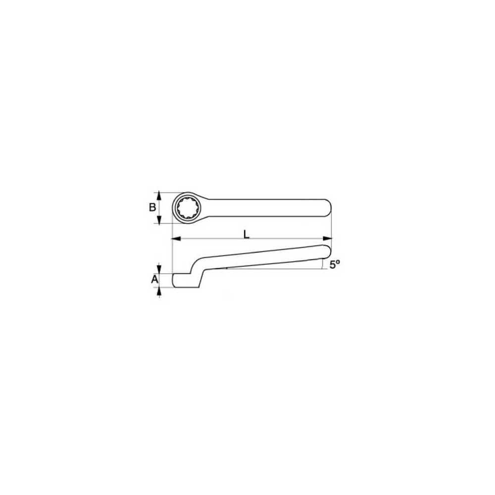 Llave Estrella Acodada Aislada de una Boca 18 MM Bahco 2MV-18
