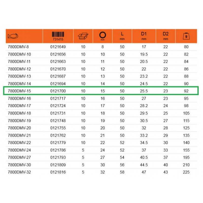 """Dado Aislado Carraca 1/2"""" X 15 MM 1000 Volt Bahco 7800DMV-15"""
