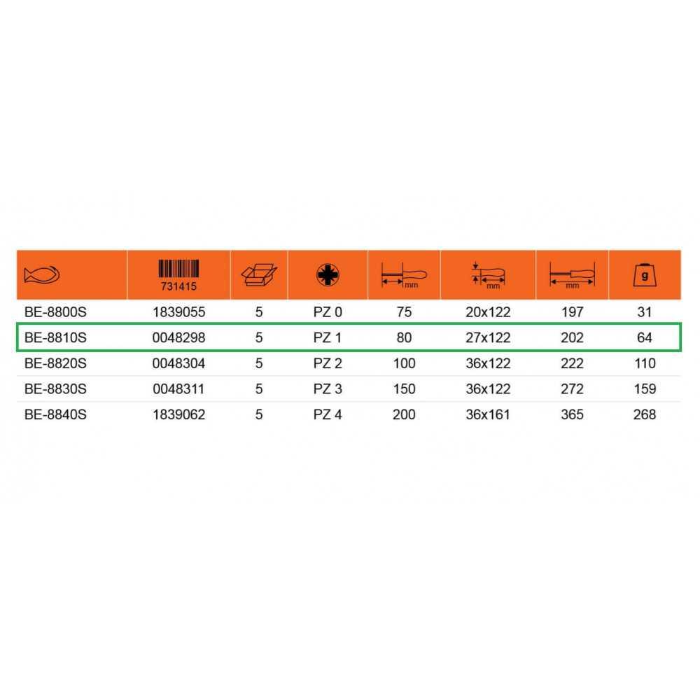 Destornillador Aislado POZIDRIV PZ 1 - Hoja 80 mm Bahco BE-8810S