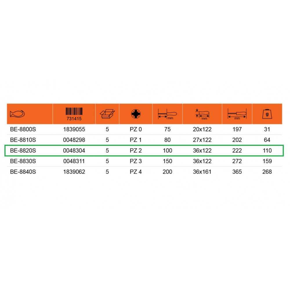 Destornillador Aislado POZIDRIV PZ 2 - Hoja 100 mm Bahco BE-8820S