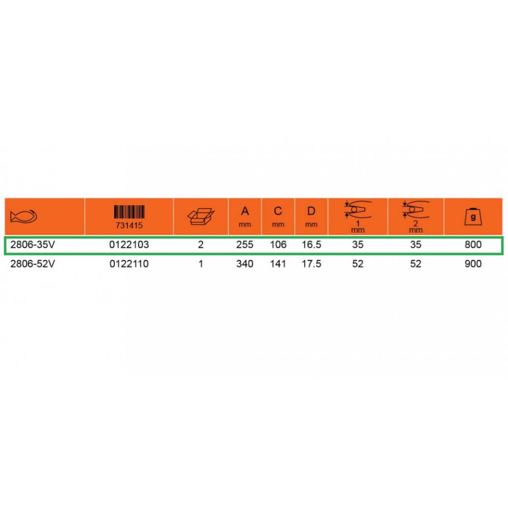 "Alicate Aislado Cortacable de Carraca 1/2"" Bahco 2806-35V"