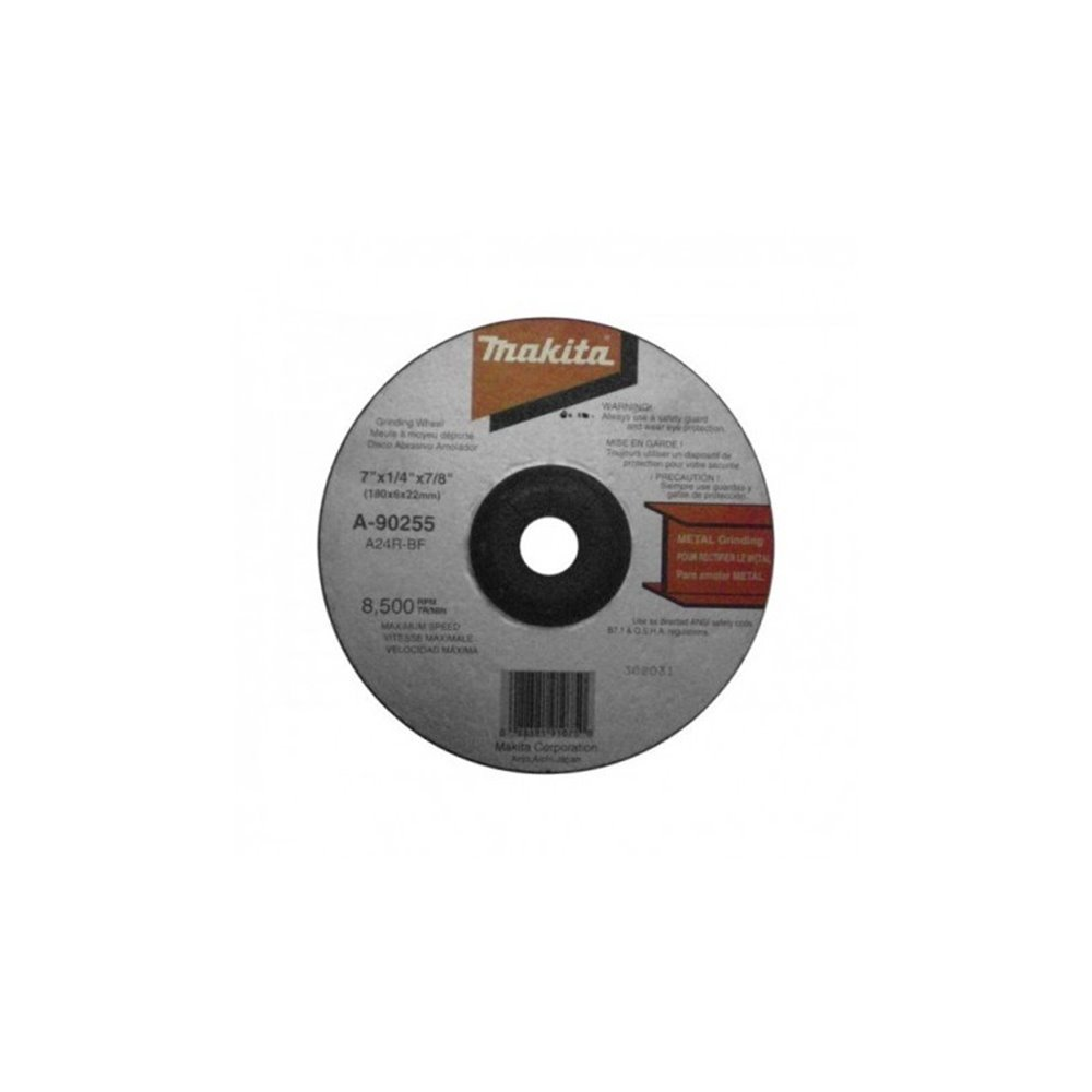 "Disco Desbaste Metal 7"" (180 X 6 X 22 mm.) C.D. - A24R Makita A-90255"