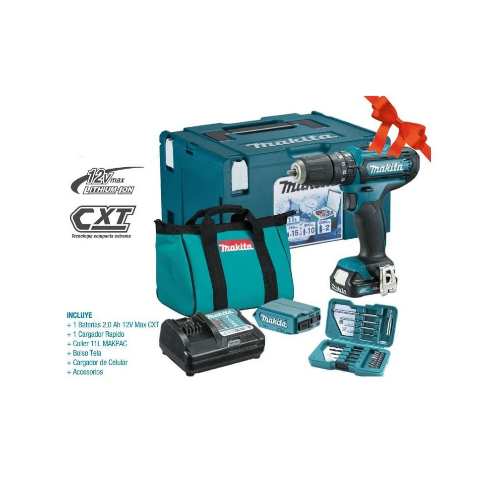 Taladro Atornillador Percutor Inalámbrico +1 Bat + Cargador + Coller + Bolso + Cargador de Celular y Accesorios Makita HP331DWAX