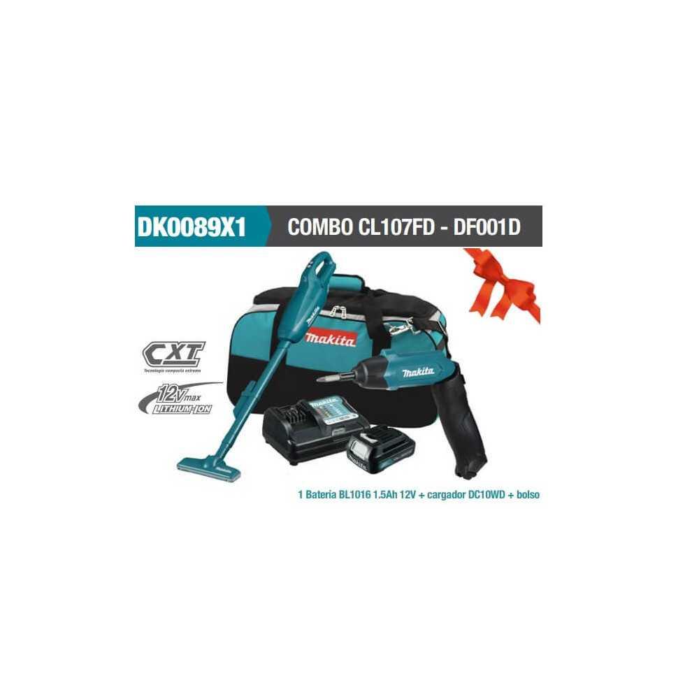 Kit Aspiradora Inalámbrica CL107FD+Atornillador Inalámbrico DF001D+Bateria Makita DK0089X1