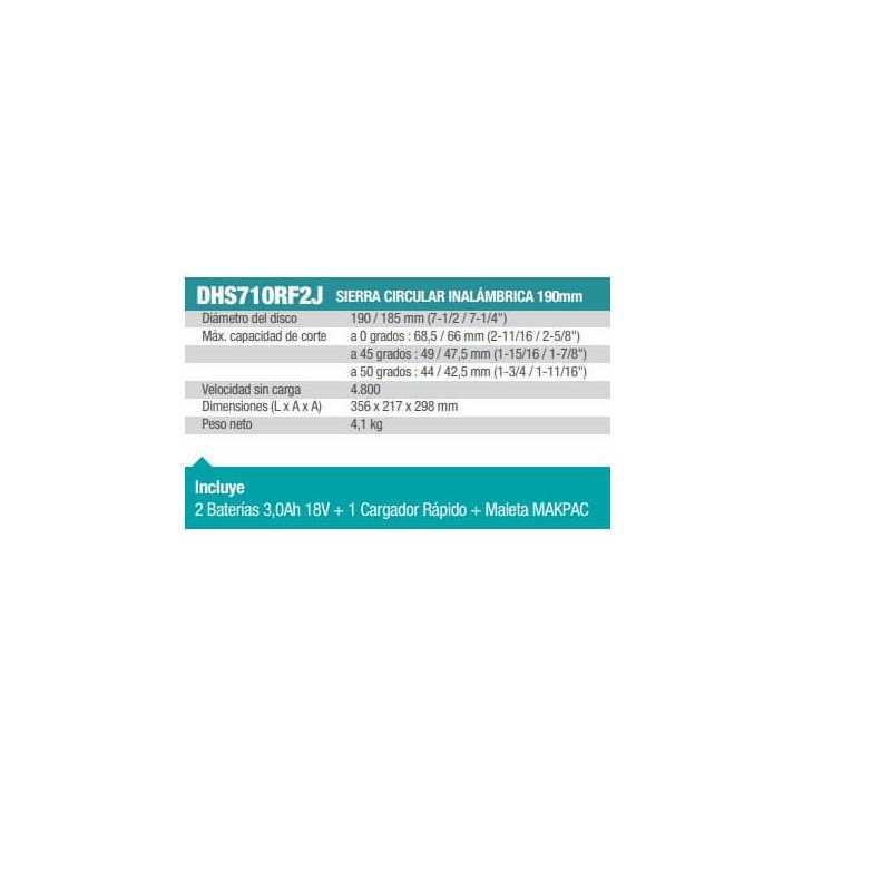 "Sierra Circular Inalámbrica 7-1/2""+ Hoja De Sierra + Baterías + Cargador + Maleta Makpac Makita DHS710RF2J-1"