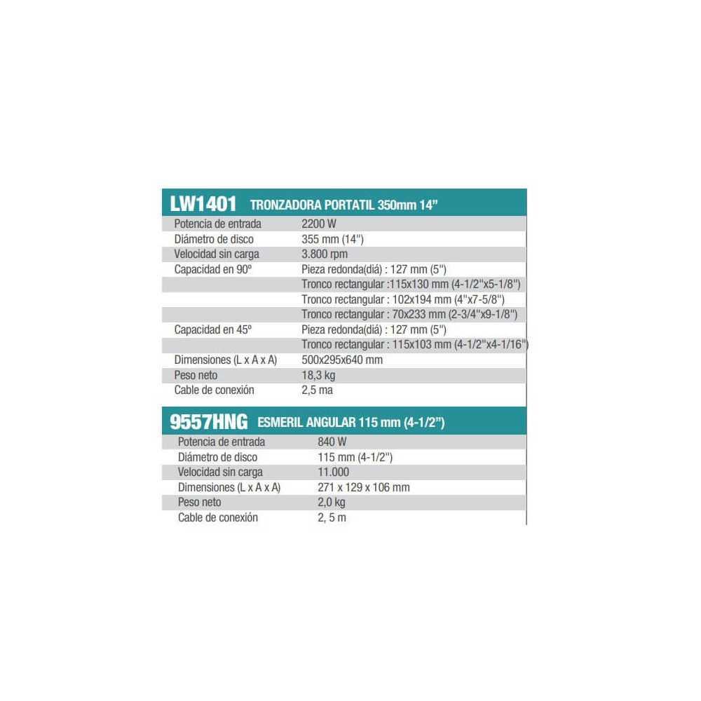 "Kit Tronzadora Portátil 350mm LW1401 + Esmeril Angular 4-1/2"" 9557HNG Makita LW1401-2"