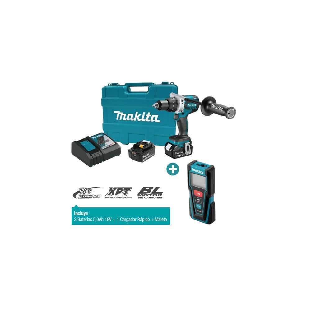 Kit Taladro Atornillador 13mm DDF481RTE+ Medidor de Distancia Láser LD030P Makita DDF481RTE-2