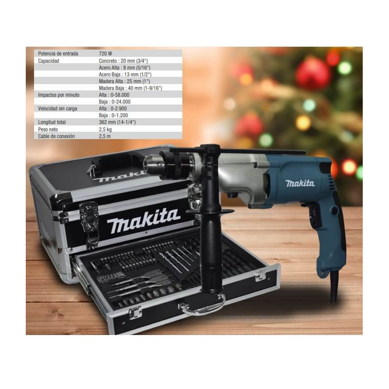 Taladro Percutor 720 W 2 Velocidades + Maleta con Accesorios Makita HP2050HX1