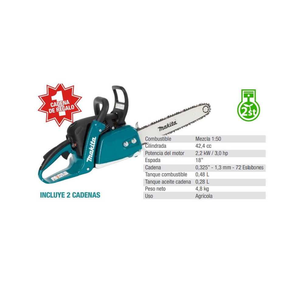"""Motosierra 18"""" (450mm) 2,2 kW / 3.0 hp - Incluye 2 cadenas Makita EA4301FX2"""