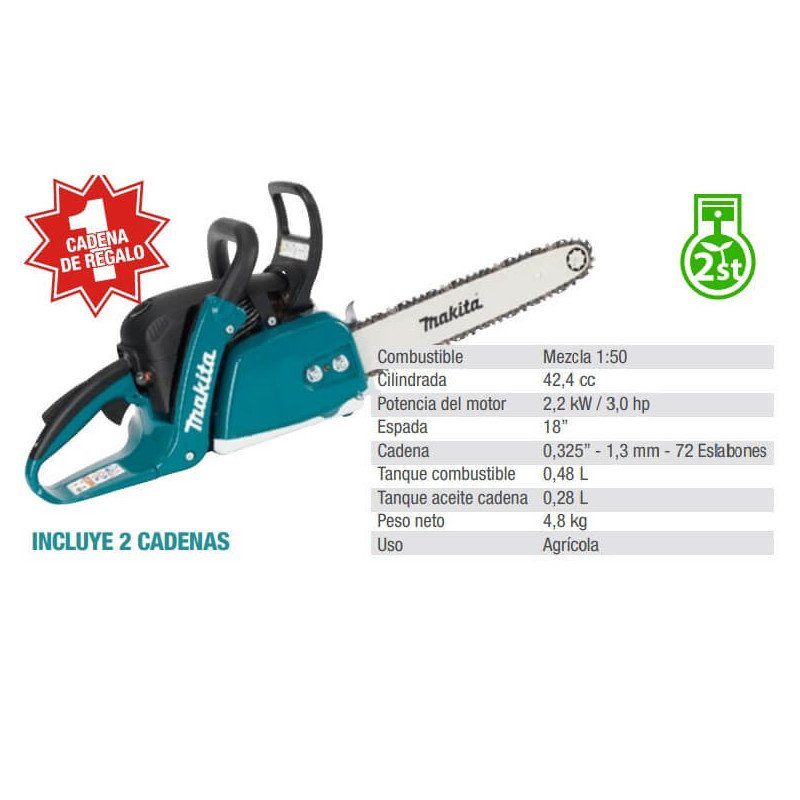 "Motosierra 18"" (450mm) 2,2 kW / 3.0 hp - Incluye 2 cadenas Makita EA4301FX2"