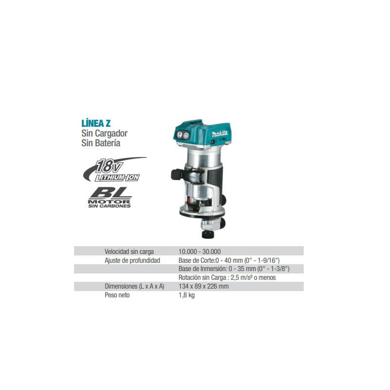 "Recortadora Inalámbrica 1/4"" (6 mm) Makita DRT50Z"