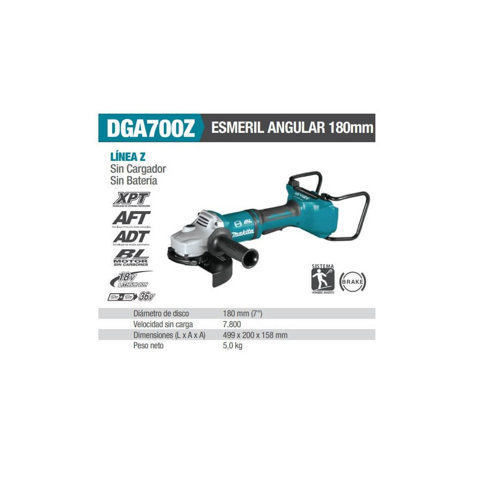 "Esmeril Angular Inalámbrico 7"" (180 mm) Makita DGA700Z"