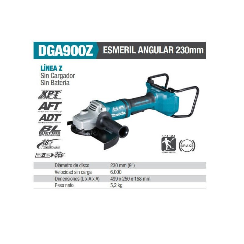 "Esmeril Angular Inalámbrico 9"" (230 mm) Makita DGA900Z"