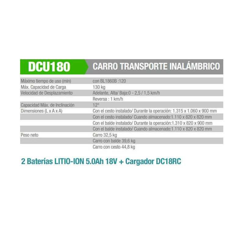 Carretilla Inalámbrica Con Balde + 2 Baterías y Cargador Makita DCU180Z-2