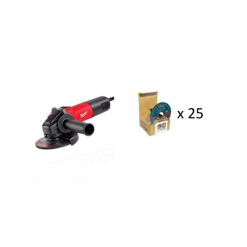 """Esmeril Angular 4 1/2"""", 750 W Milwaukee + 25 Discos de Corte AG 750-115 + 25 DISCOS"""