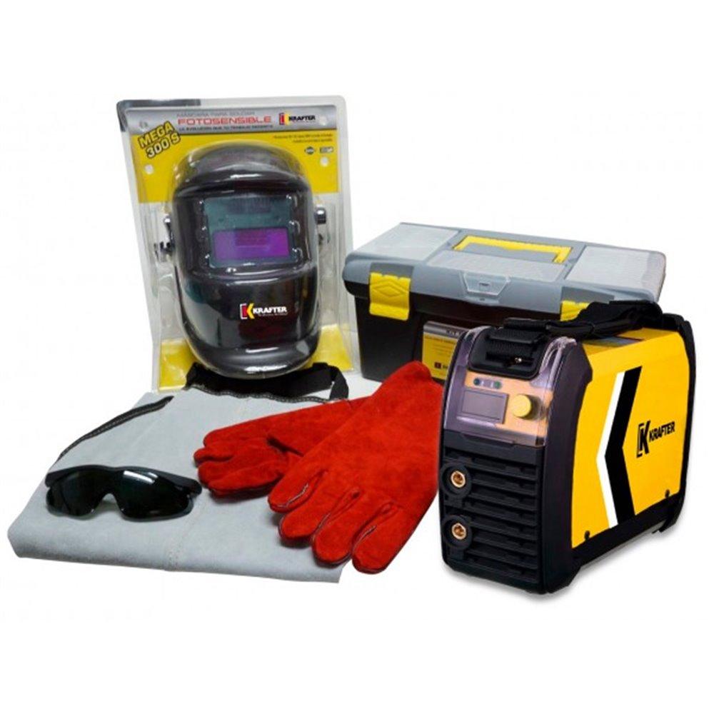 Soldadora Inverter 160A 160IGBT + Kit de Seguridad Krafter 4446000011160