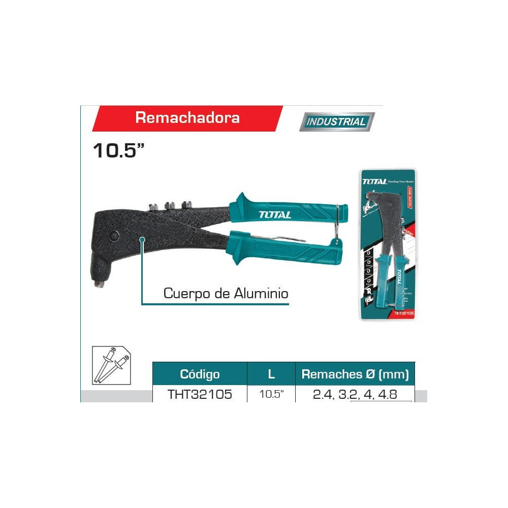 "Remachadora Pop 10,5"" Cuerpo de Aluminio Total Tools THT32105"