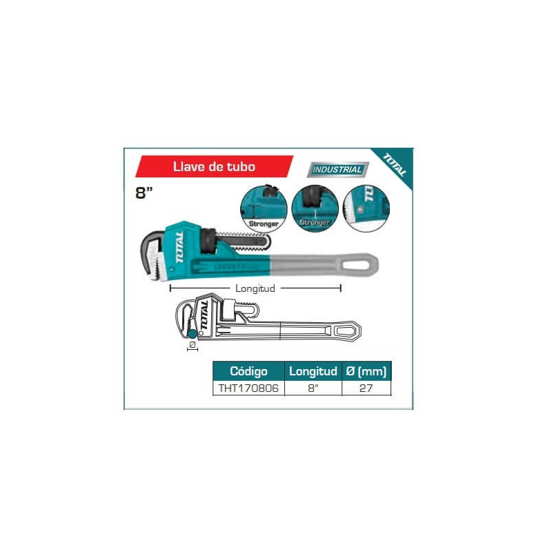 """Llave de Tubo Stillson 8"""" Total Tools THT170806"""